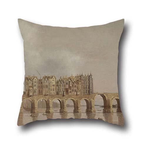 The Oil Painting Claude De Jongh - View Of London Bridge Throw Pillow Case Of ,18 X 18 Inch / 45 By 45 Cm Decoration,gift For Son,shop,teens Girls,divan,deck Chair,bedroom (2 Sides) Bridge Needlepoint