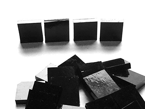 Square Mosaic 1/2 Glass (FortySevenGems 100 Pieces Stained Glass Mosaic Tiles 1/2-Inch Black Cathedral Glass Textured)