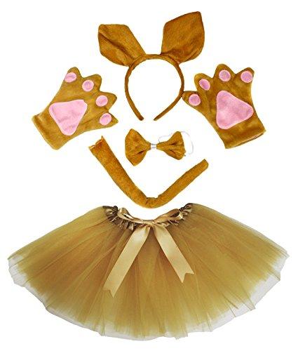 [Kangaroo Headband Bowtie Tail Gloves Gold Tutu 5pc Girl Costume Dress for Party] (Kangaroo Costumes Kids)