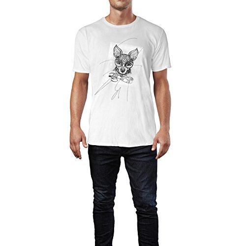 SINUS ART® Hundekopf mit Ornamenten schwarz Herren T-Shirts in Weiss Fun Shirt mit tollen Aufdruck