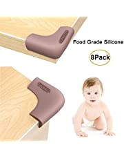 Corner Protectors and Edge Guards Baby Proof Corner Covers and Bumpers Cushion Food Grade Silicone Non-Choking Risk Chewing Safe with Strong Stickiness (Brown) (Dark Brown 8 Pack)