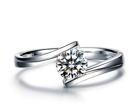 Gowe YLC 0,30CT Certifié D-e/VS Diamant Bague de fiançailles Round Cut 18K Or Blanc Athena