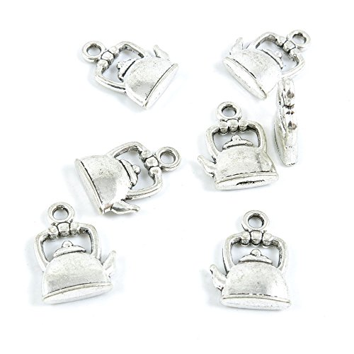 Price per 20 Pieces Antique Silver Tone Jewelry Making Charms Supply I5QF6 Water Kettle