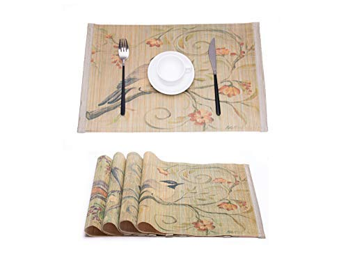 KFZ Natural Bamboo Placemats for Dining Table, Unique Laser Printed Design with Birds Floral Pattern Heat Insulation, Stain-Resistant, Washable Place Mats, Set of 4 Different Patterns ()