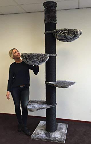 Árbol para gatos RHRQuality torre negra, postes de sisal de 20 cm de diámetro,