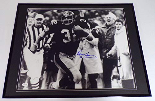 - Franco Harris Signed Framed 18x24 Immaculate Reception Photo Display JSA Steeler