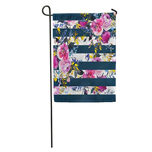 """Semtomn Garden Flags 12"""" x 18"""" Watercolor Flower Pink Rose and Navy Stripes Peonies Bouquets Pattern Colorful Botanical Outdoor Seasonal"""