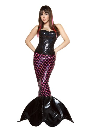 [Roma Costume 2 Piece Sexy Sea Siren Costume, Black/Hot Pink, Small] (Sea Siren Sexy Costumes)
