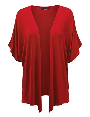 MBJ Womens Short Sleeve Dolman Cardigan 4XL RED