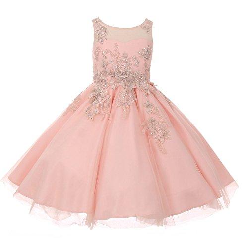 Cinderella Couture Little Girls Blush Lurex Thread Flower Embroidered Flower Girl Dress 6 by Cinderella Couture