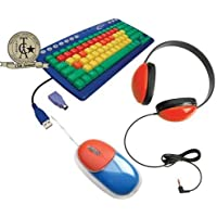 Califone KIDSPACK Kids Computer Peripheral Package; Includes: KB1 Kids Keyboard, 2800-RD Listening First Headphone and KM100 Mouse