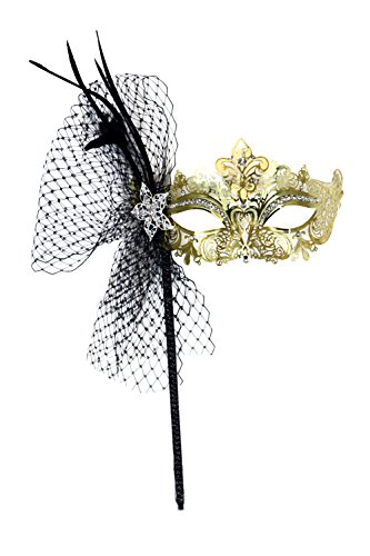 Success Creations Simone Deluxe Laser-Cut Metal Gold Venetian Women's Masquerade Mask on a Stick -
