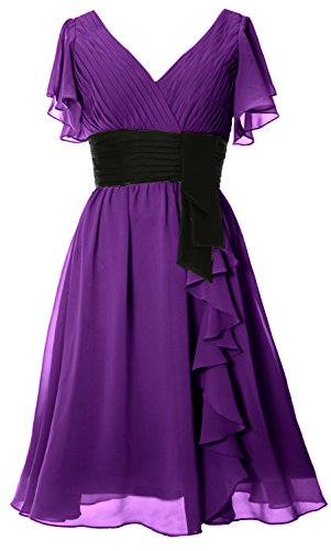 Macloth V Amethyst Neck Mother Gown Party Bride Midi Formal Of Women Dress Short Sleeves Sq5OrwqEx