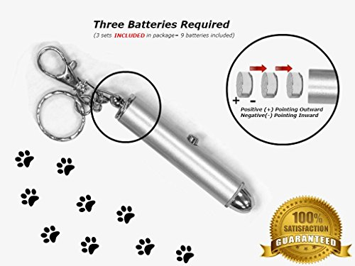 Animmo 2x Cat Light Pointers Batteries Included for Both Plus Individually Tested for Proper Function, Stays On (with One Click), Interactive Bright Exercise Training Tool Fun Cat Dog Chaser Toy