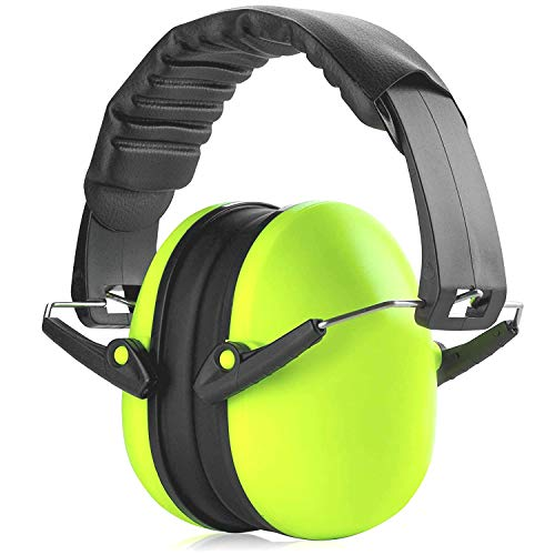 Hearing Protection Ear Muffs - Lime Green Hearing Protection and Noise Cancelling Reduction Safety Ear Muffs, Fits Children and Adults, Perfect for Shooting, Hunting, Woodworking and More by MEDca