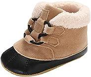 KONFA Little Kids Winter Warm Cotton Padded Snow Boot,Toddler Newborn Baby Girls Boys First Walkers Booties Cr
