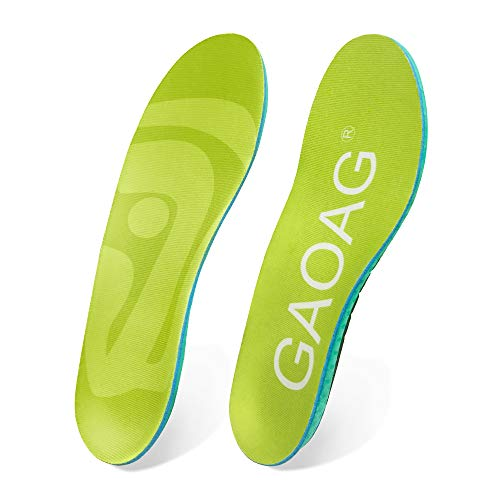 GAOAG Sports Shoe Insoles, Shock Absorption Breathable Running Athletic Shoe Insoles Pads, EVA Arch Support Inserts Orthotic Insoles for Flat Feet,Feet Relief Foot Pain for Men's Size 7-13 (Best Running Insoles For Flat Feet)