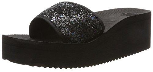 flip Plateforme Black flop Femme Sandales Poolwedge 0000 Noir Glitter RqB6wP4pR