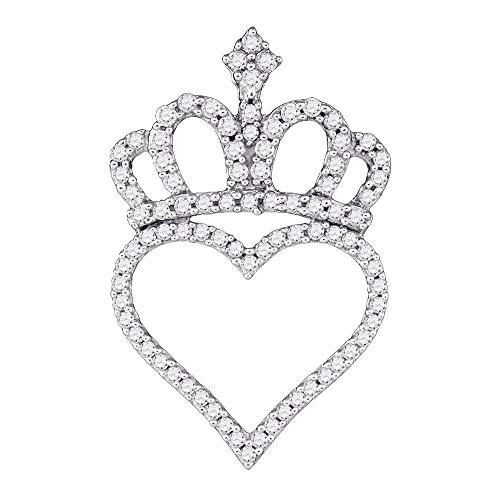 (Mia Diamonds 10kt White Gold Womens Round Diamond Crown Heart Pendant (.32cttw) (I2-I3))