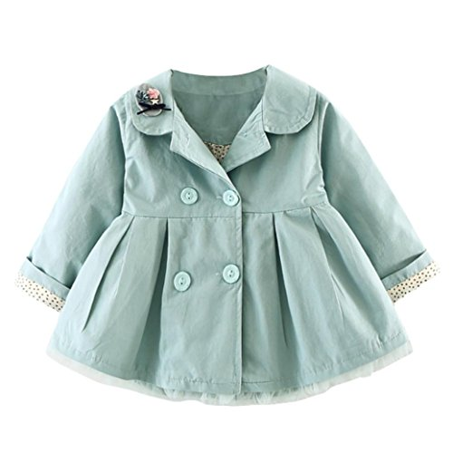 KONFA Baby Girls Elegant Lapel Coat,Suitable For 0-3 Years Old,Autumn Winter Button Cloak Tops