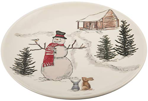 Melange 608410091368 6 -Piece 100% Melamine Salad Plates Christmas Collection-Snowman Shatter-Proof and Chip-Resistant, 10.5