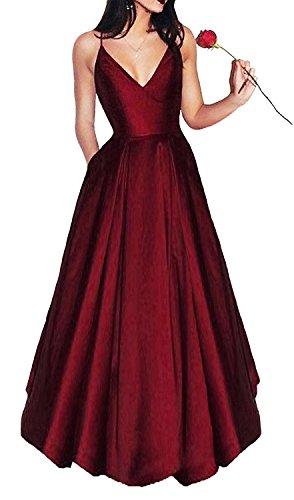 Bonnie Women's V-neck Homecoming Dress 2017 Long Spaghetti Straps Satin Prom Party Dresses with Pockets BS037 Satin Graduation Dress