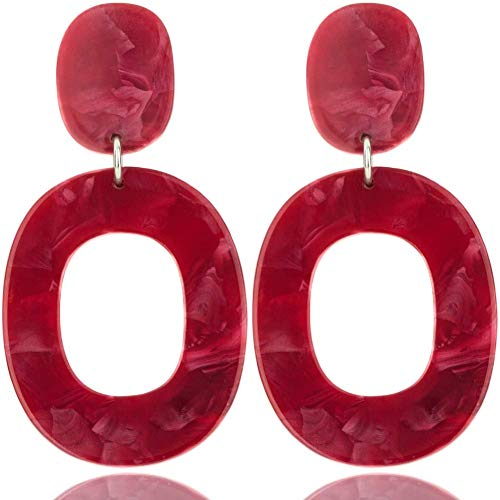 Red Resin Earrings - Red Acrylic Dangle Earrings: Statement Large Geometric Resin Drop Earring Set for Women (Red Circle)
