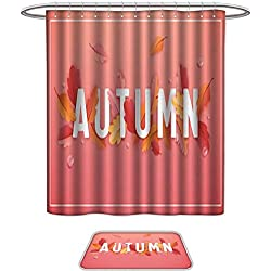 Bathroom Sets Non SlipAutumn Background Template with Beautiful Leaves and Raindrops Fall Illustration with Paper Art for Web Banner Card Template Wallpaper Cover Invitation in vector. Bath Mats ic,