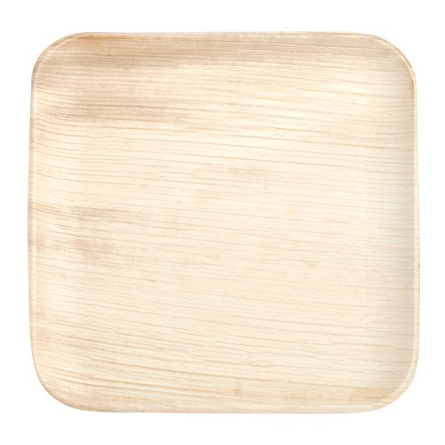 Disposable Plates by PalmPlates – 25 Palm Leaf Plates (10 Inch SQUARE) / 100% Natural Eco Friendly Compostable Tableware / CATERING EVENTS – Wedding Buffet BBQ Birthday Celebration
