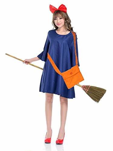 Kiki From Kiki's Delivery Service Costume (Lulu LAB Majo Kiki's delivery service Kiki Wind Magical girl One-Piece Cosplay Halloween Costume)