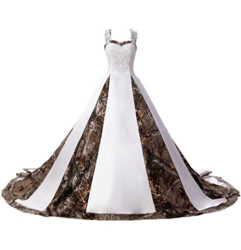 DINGZAN Straps Ball Gowns White and Camo Bridal Dresses Wedding Gowns Lace 24