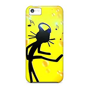 Shock-dirt Proof Cat Kittycat Music Case Cover For Iphone 5c