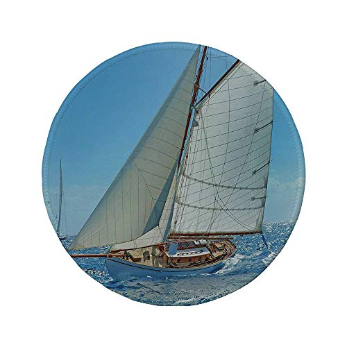 Non-Slip Rubber Round Mouse Pad,Nautical,Sailboat on The Sea Regatta Race Yacht and Windy Weather Competition Theme,Blue White Brown,7.87