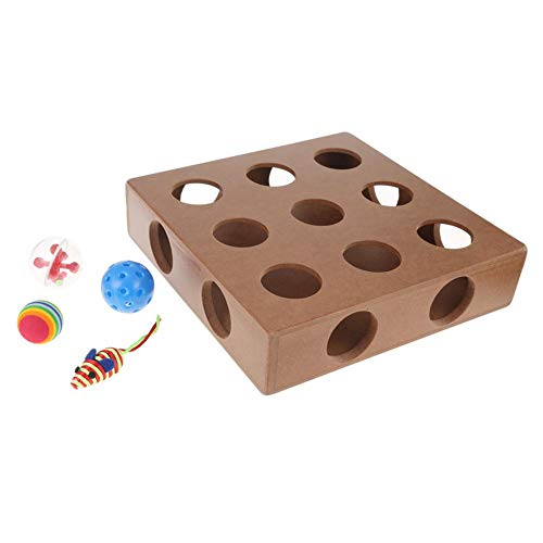 KOBWA Wooden Cat Toys Box with 3 Balls and 1 Toy Mouse, Fun Interactive Cat Toy Fun Hide and Seek Cat Agility Toys, Treat Maze & Puzzle Feeder for Cats