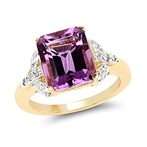 Johareez 3.90 cts Amethyst & White Topaz .925 Sterling Silver 14K Yellow Gold Plated Ring for Women