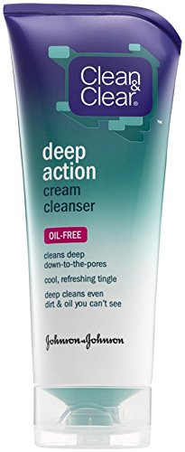 Clean & Clear Oil-Free Deep Action Cream Facial Cleanser with Salicylic Acid Acne Medication, Cooling Face Wash for Deep Pore Cleansing of Acne-Prone Skin, 6.5 oz