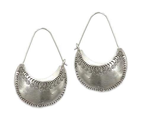 Sterling Silver Crescent Boho Statement Hoop Earrings, Handmade Moon shape Hippie Gypsy Ethnic Bohemian Large Earrings