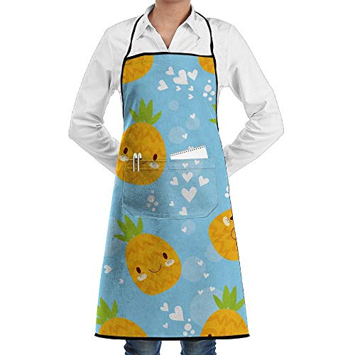 LOGENLIKE Cute Cartoon Pineapple Kitchen Aprons, Adjustable Classic Barbecue Apron Baker Restaurant Black Bib Apron With Pockets For Men And Women