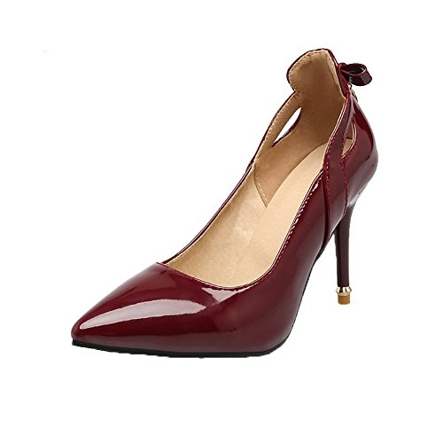 AllhqFashion Womens Pull-On High-Heels Patent Leather Closed-Toe Pumps-Shoes Red TUxN0