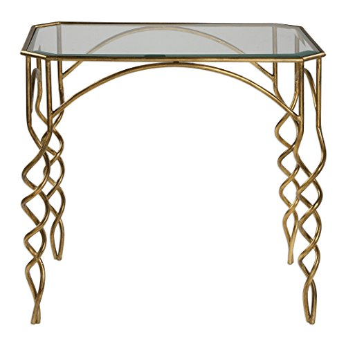 Swirl Pedestal (Gold Swirl Metal Glass Accent End Table | Modern Elegant Open Scroll)