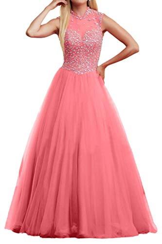 Partykleider Aermellos Abendkleider Steine Prinzess mia Promkleider Luxurioes Rock Braut A Bodenlang Rosa Linie Tuell La wx0In1