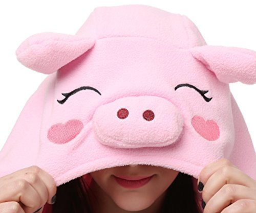 [Bettertime Animal Unisex Onesies Adult Pajamas Kigurumi Halloween Cosplay Costume,Pink Pig,XL (71