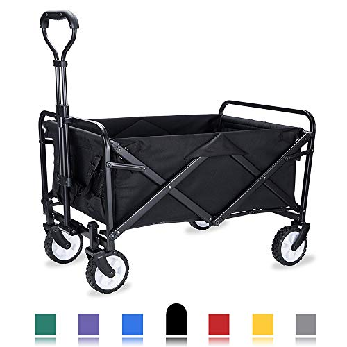 WHITSUNDAY Collapsible Folding Garden Outdoor Park Utility Wagon Picnic Camping Cart with Replaceable Cover
