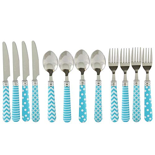 Steel Stainless Gibson Spoon (Retro Diner 12-Piece Turquoise Stainless Steel Flatware Set)