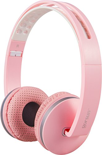 ONTA gorsun sport Lightweight Foldable Headphones Adjustable Headsets with Mic and volume control 3.5mm for kids Iphone Laptop Computer Mp3/4 Earphones (pink)