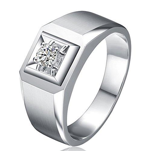 Men's Trendy Genuine Natural Diamond 14K White Gold Wedding Engagement Fashion Ring Set ()