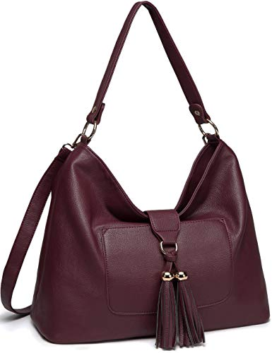 (Hobo Handbag for Women,VASCHY SAC Faux Leather Fashion Vintage Tassel Women Handbag Purse Tote with Detachable Long Shoulder Strap Burgundy)