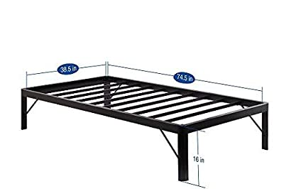 SLEEPLACE 16 Inch High Profile Round Edge Tall Steel Slat Bed Frame/Non-Slip Support