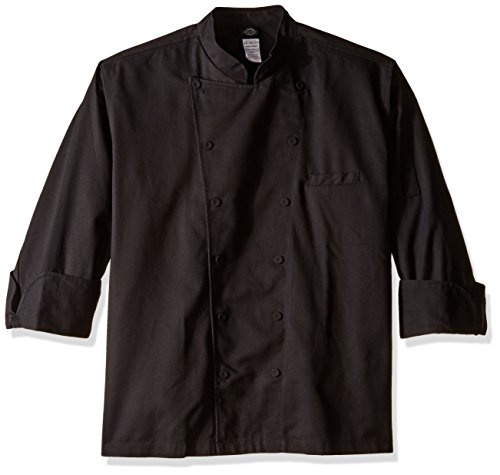 Dickies Chef Men's Unisex Executive Coat with Fluid Barrier, Black,