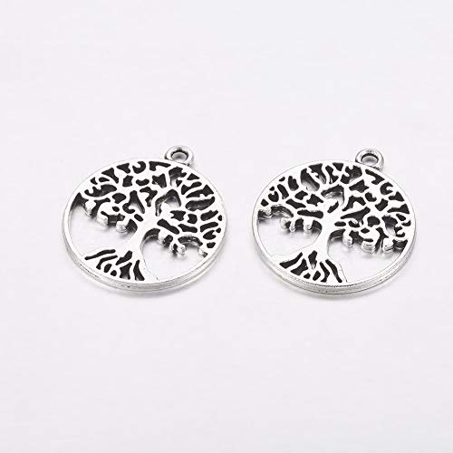 (Craftdady 10PCS Tibetan Style Antique Silver Flat Round Tree Pattern Tree of Life Alloy Pendants Charms Jewelry Making Supplies, Lead Free, 29x25x1.5mm)